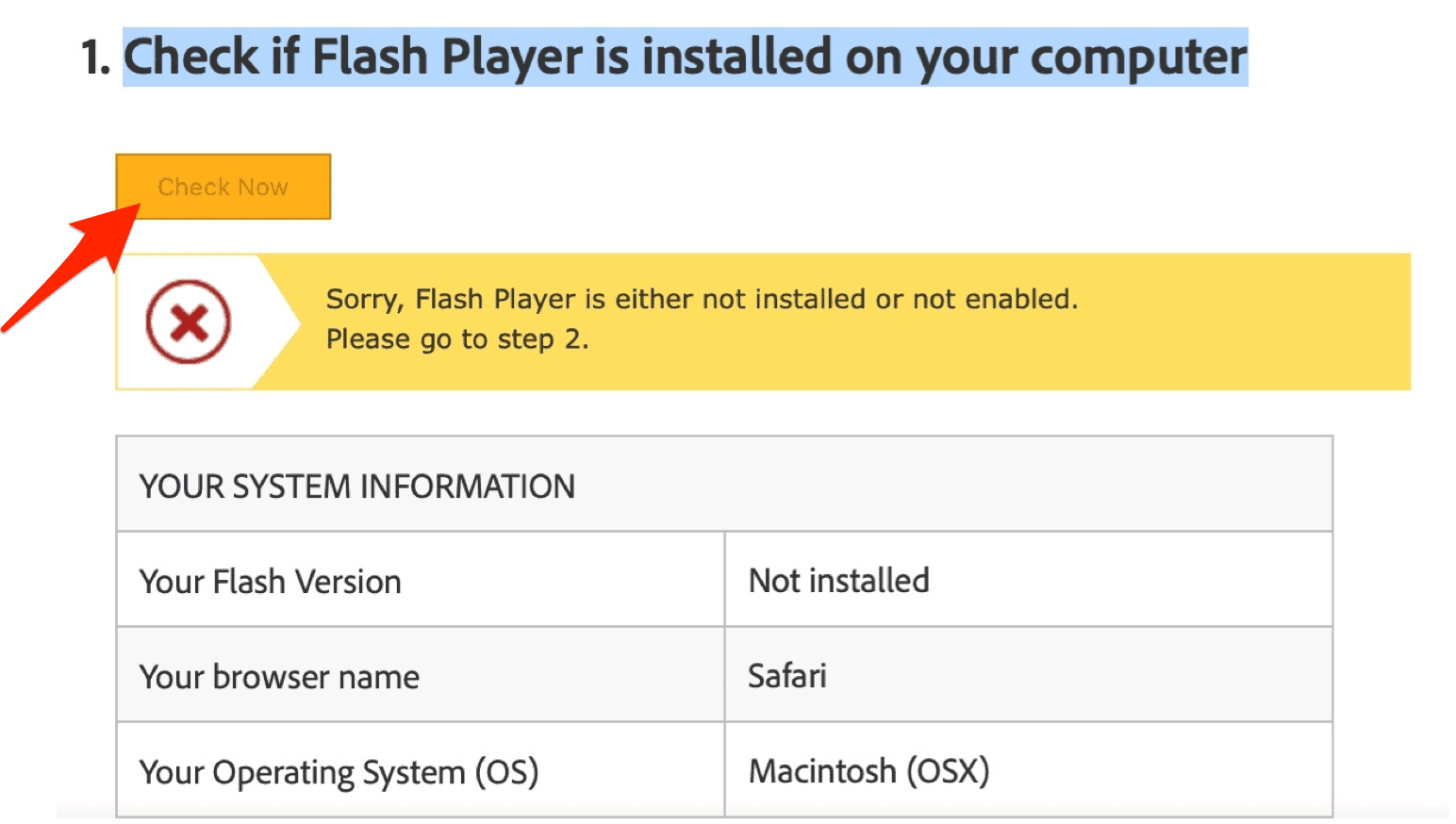 Confirm Adobe Flash removal