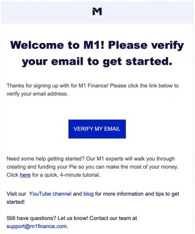 M1 Finance verify email
