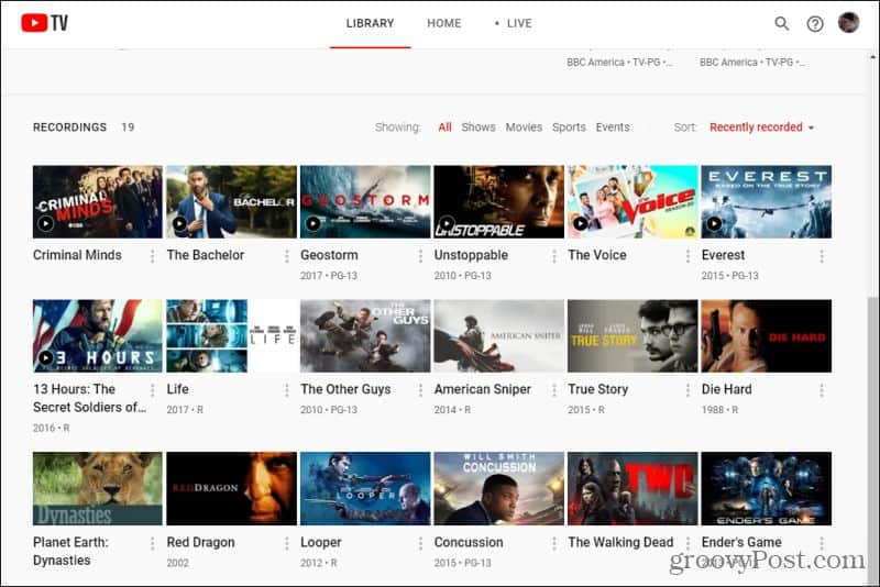youtube recordings library