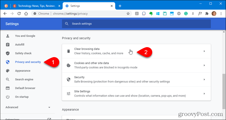 Clear Clear browsing data in Chrome settings