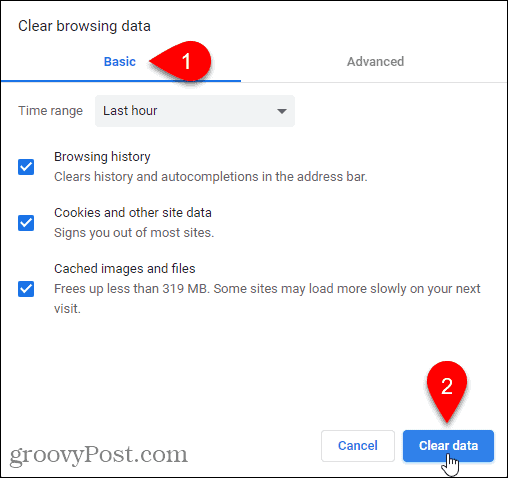 Basic tab on Clear browsing data dialog in Chrome