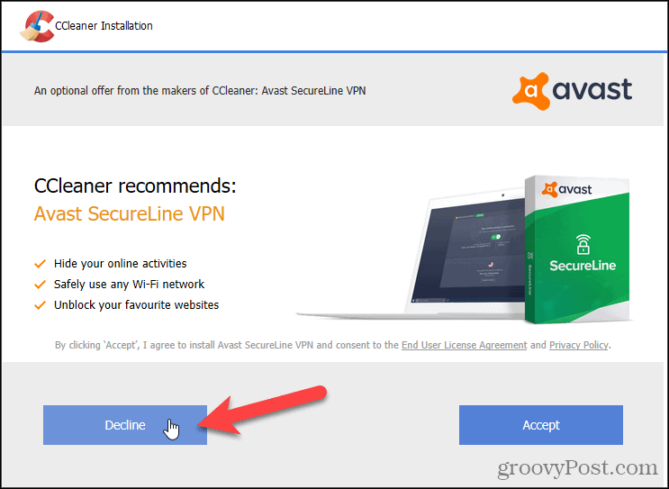 Decline Avast VPN in CCleaner