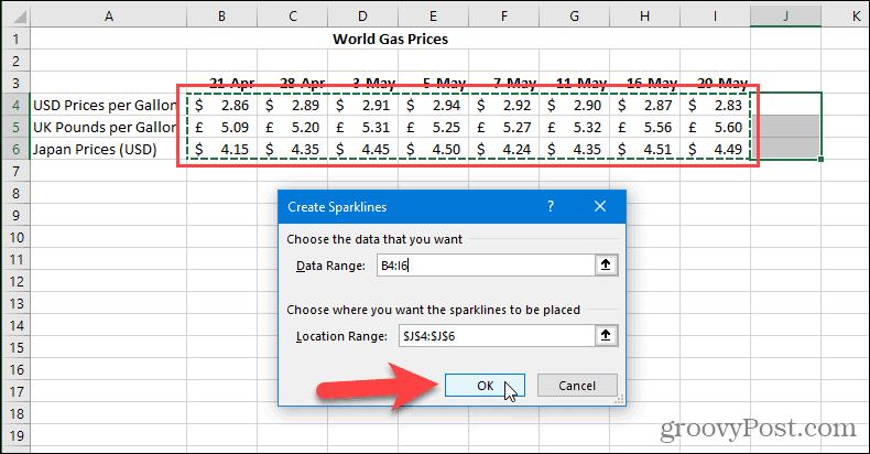 Create Sparklines dialog in Excel