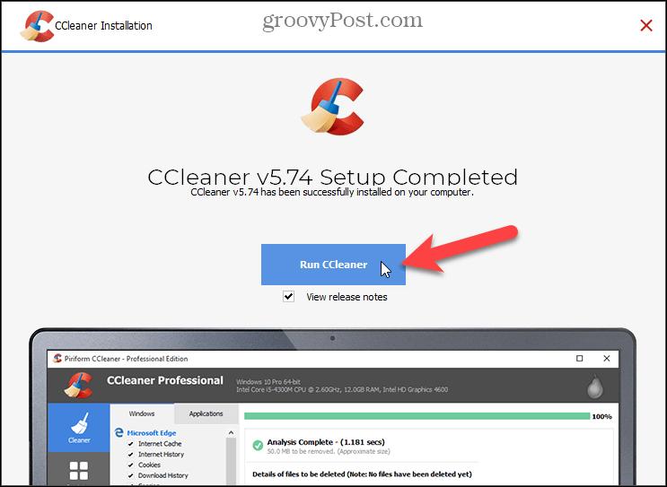Click Run CCleaner