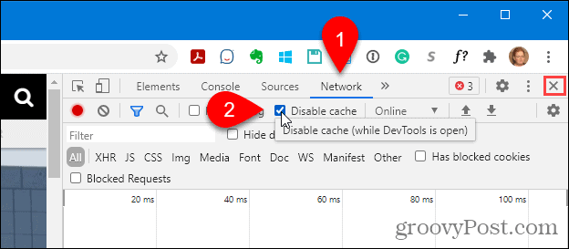 Select Disable cache in Chrome's Developer tools