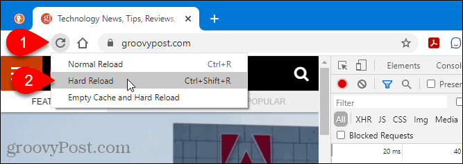 Reload options in Chrome