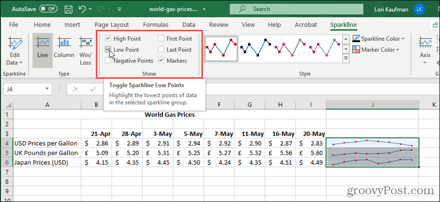 Show options for Sparklines in Excel