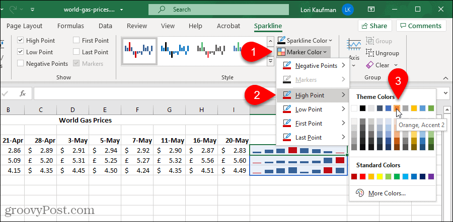 Change the color of a Marker in an Excel Sparklines chart