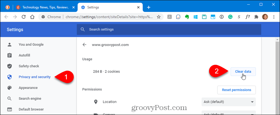 Click Clear data under Usage in the Privacy and security settings in Chrome