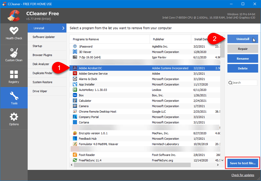 Uninstall and generate list of installed programs in CCleaner