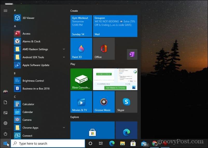 start menu no control panel