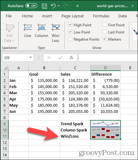 Win/Loss Sparkline in Excel