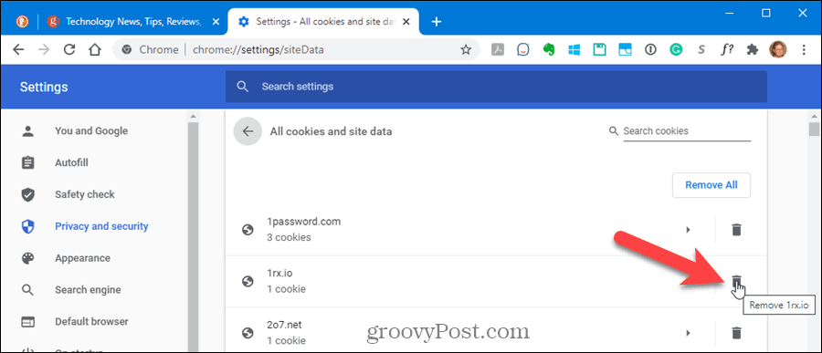 Delete cookies for one site in Chrome