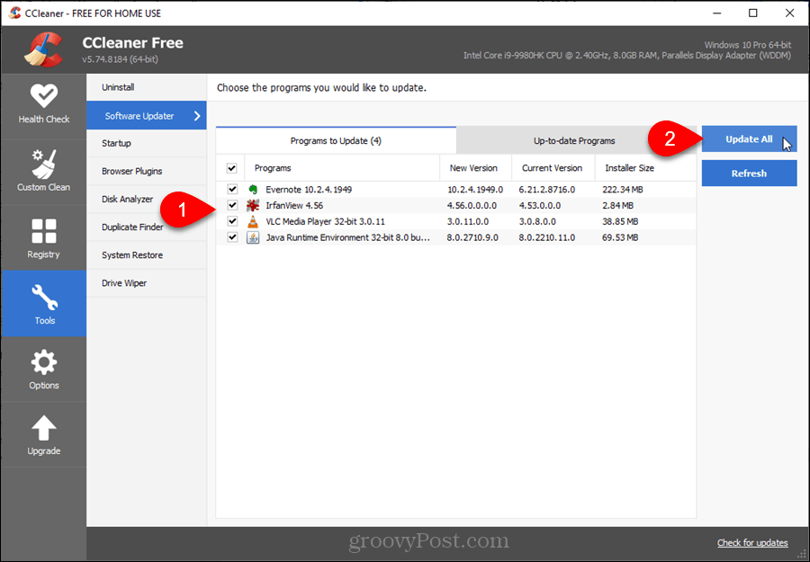 Software Updater in CCleaner