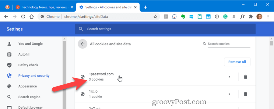 Click on a site to see its cookies in Chrome's settings