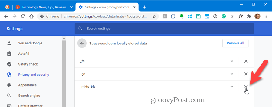 Delete an individual cookie in Chrome's settings