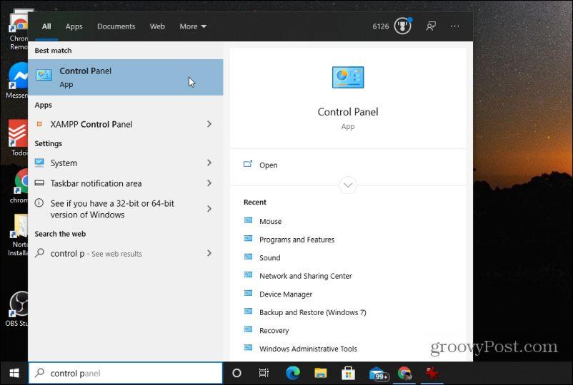 control panel app