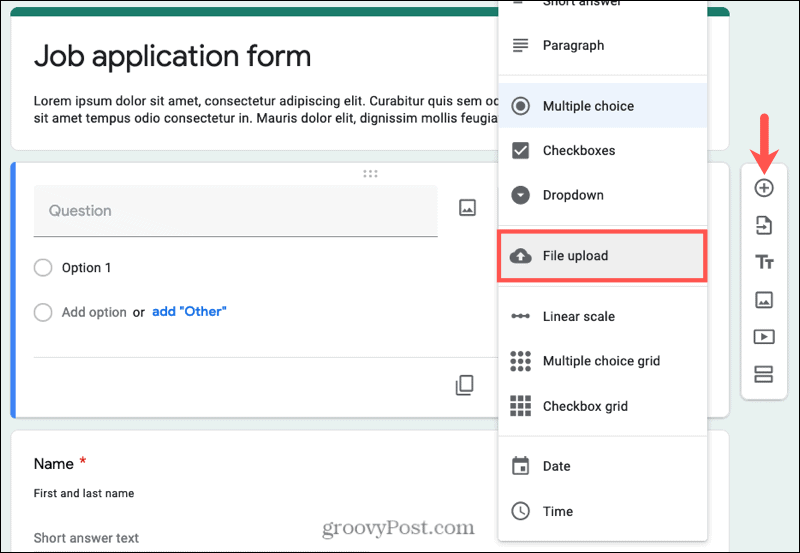 Add question, select File Upload