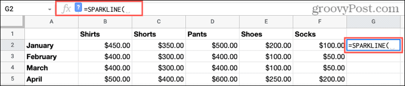 Add Sparkline Function in Google Sheets