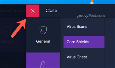 The Avast close button