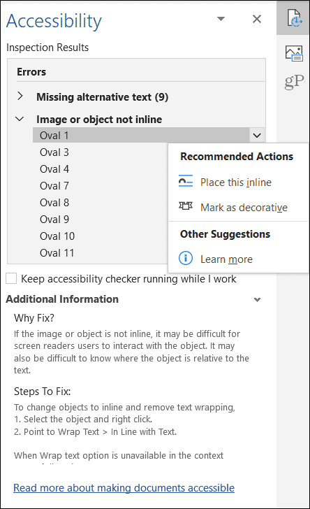 Microsoft Office Accessibility Checker Object Results