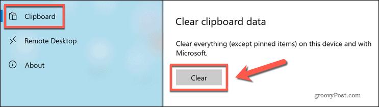 Clearing Windows 10 clipboard history in Windows Settings