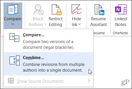 Click Combine in the Compare section