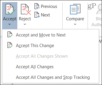 Accept changes in Word