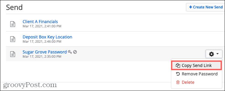 Copy Send Link on Bitwarden