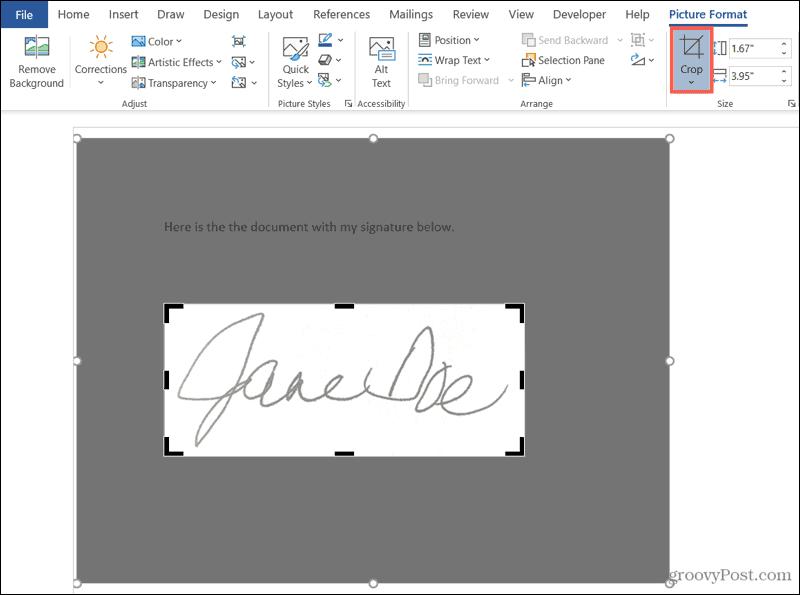 Crop the Handwritten Signature in Word