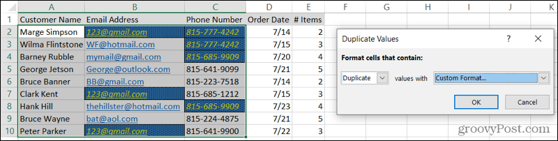 Custom Formatted Duplicates in Excel