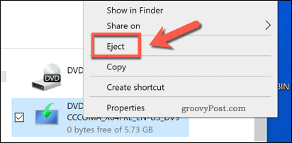 Ejecting a virtually mounted drive in Windows 10
