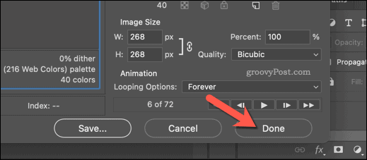 Saving an image as a GIF in Photoshop