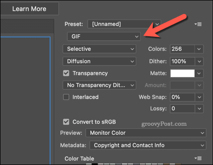 Exporting an image as a GIF in Photoshop