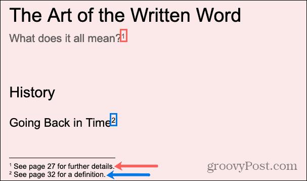 Footnotes in Google Docs