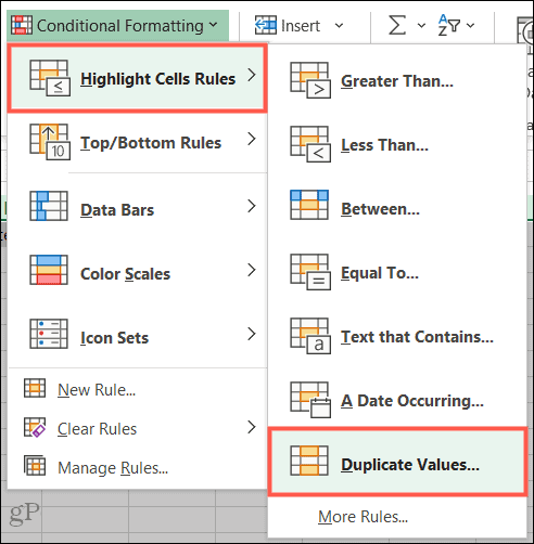 Highlight Cell Rules, Duplicate Values in Excel