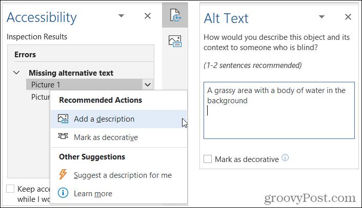 Add Descriptive Alt Text in Word