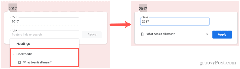 Insert a Bookmark Link in Google Docs