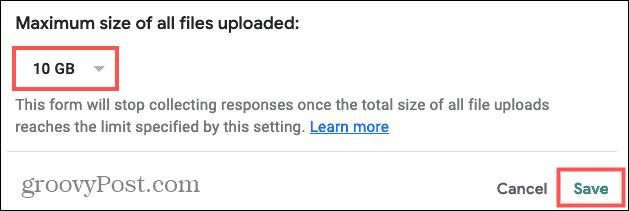Maximum file size