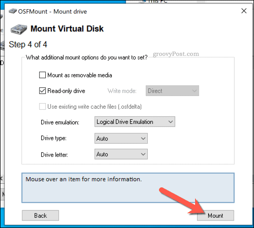 Mounting a drive in OSFMount