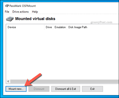 Mounting a new virtual drive in OSFMount