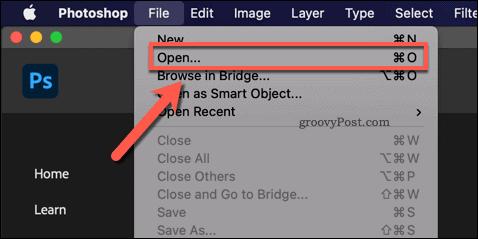 Opening a Photoshop Image file