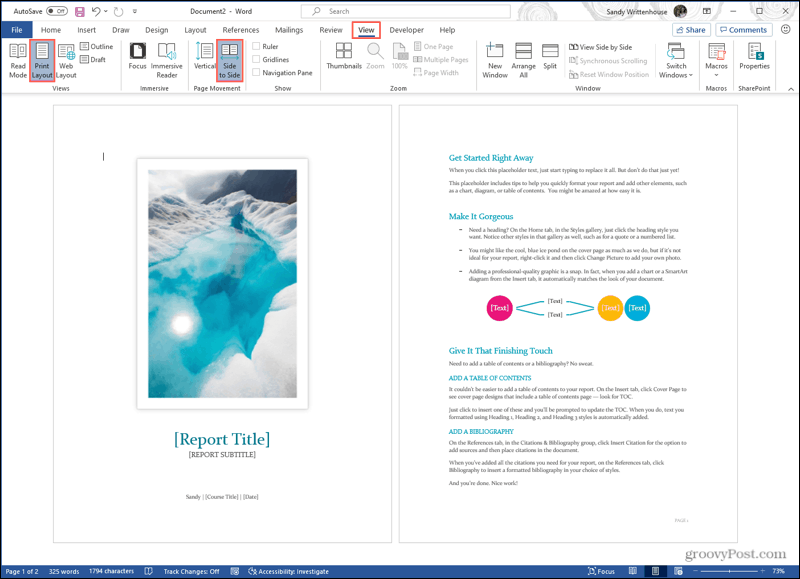 View, Print Layout, Side To Side in Word