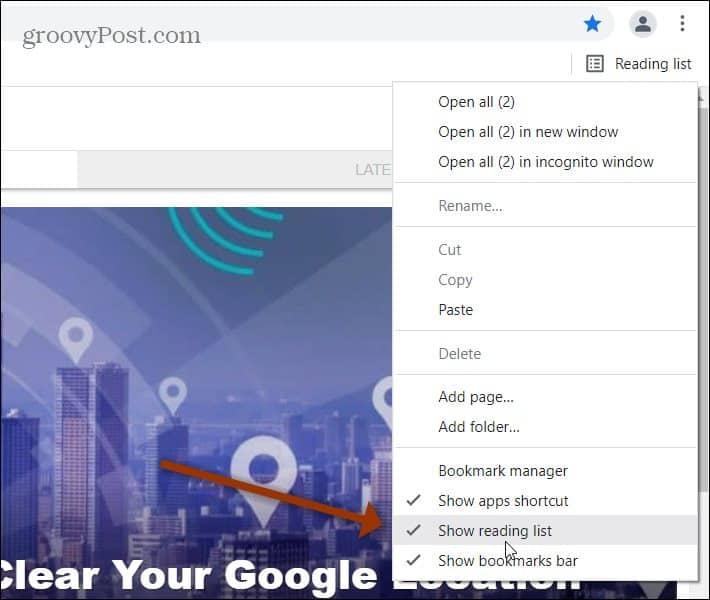 Remove Reading List menu Chrome