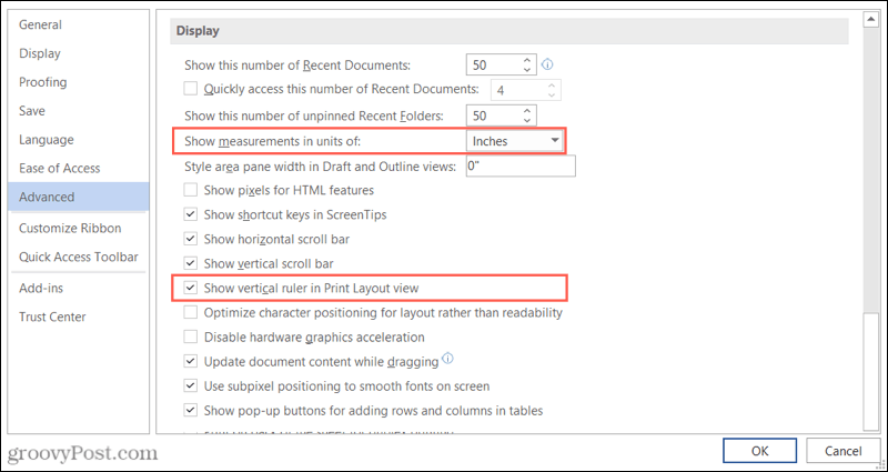 Ruler settings in Word