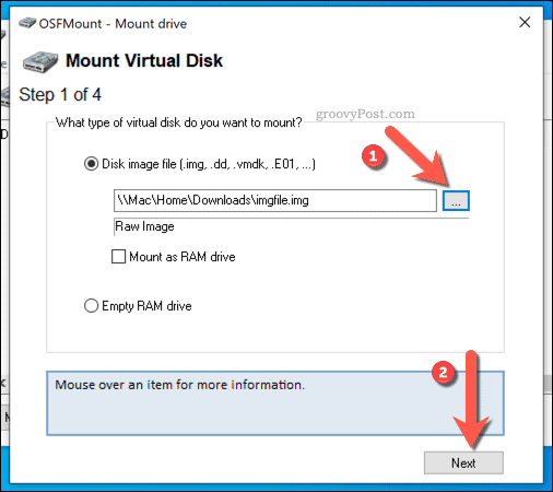 Selecting an IMG file to mount in OSFMount