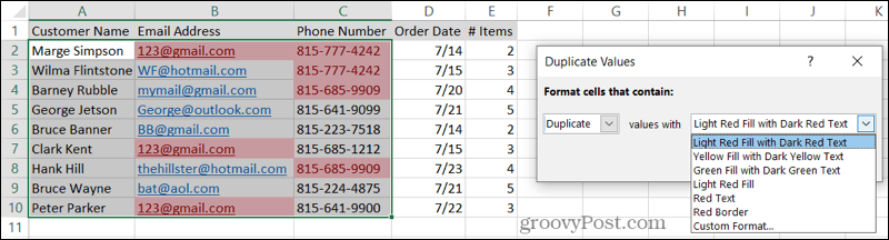 Select Formatting for Duplicates in Excel