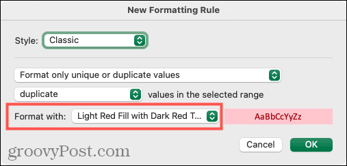 Select Formatting for Duplicates in Excel on Mac
