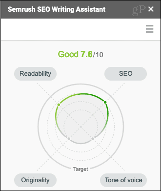 Seamless SEO Writing Assistant Adjusted Score.