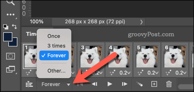 Setting a GIF to loop in Photoshop